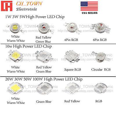 1w 3w 5w 10w 50w 100w High Power Smd Chip Led Cob White Blue Red Light Beads
