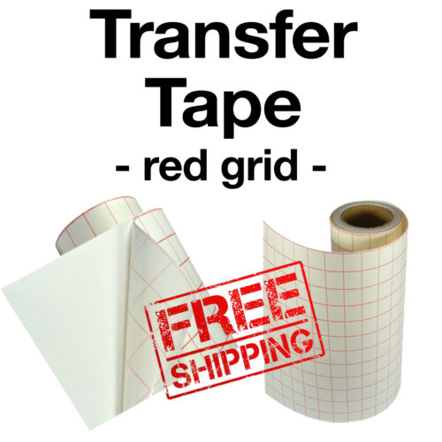 "Red grid transfer Paper Tape for vinyl crafts Hobby roll 12""x5"