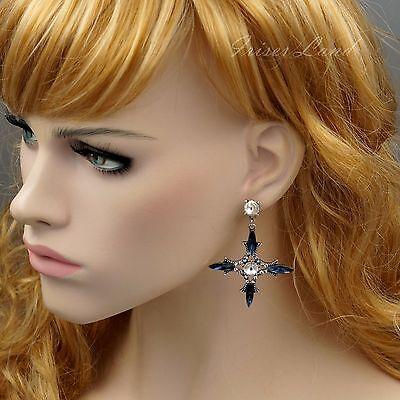 Antique Silver Tone Blue Crystal Rhinestone Drop Dangle Earrings 9382 Cross
