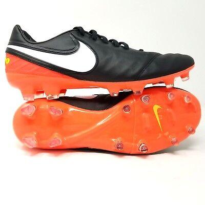 new arrival 51abb 5ec6b Nike TIEMPO LEGACY II 2 FG Men s Soccer Cleats Black Orange 819218-018 Size  12