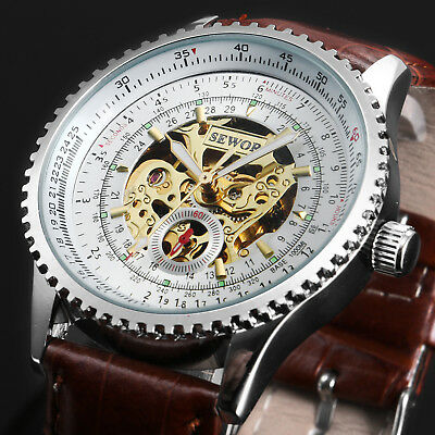 White Dial Automatic Mechanical Mens Watch Brown Leather Skeleton Steampunk