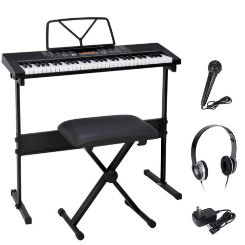 61 Key Portable Electronic Keyboard Piano with Stand Stool Headphones Microphone Electronic Keyboards