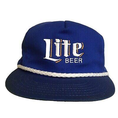 Vintage Miller Lite Beer Rope Hat Strapback Made In USA