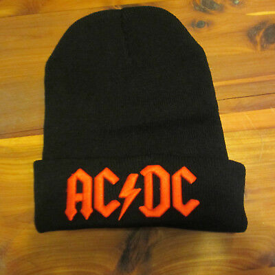 AC/DC Winter Hat; High Quality Embroidered Red Logo on Black Skull Cap; Awesome