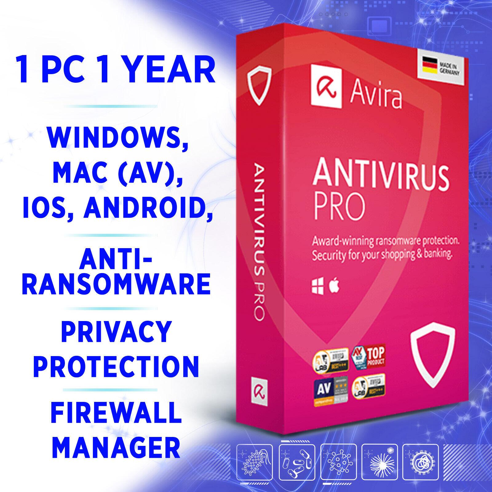 ⭐ Avira Antivirus Pro 1 Gerät 1 Jahr 2020 VOLLVERSION /für Win 10 Mac Android