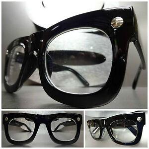 mens women vintage retro style clear lens eye glasses thick black fashion frame - Ebay Eyeglasses Frames
