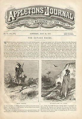 Tribal Ethnic People Of The World Costumes Savage Vintage 1870 Antique Art Print