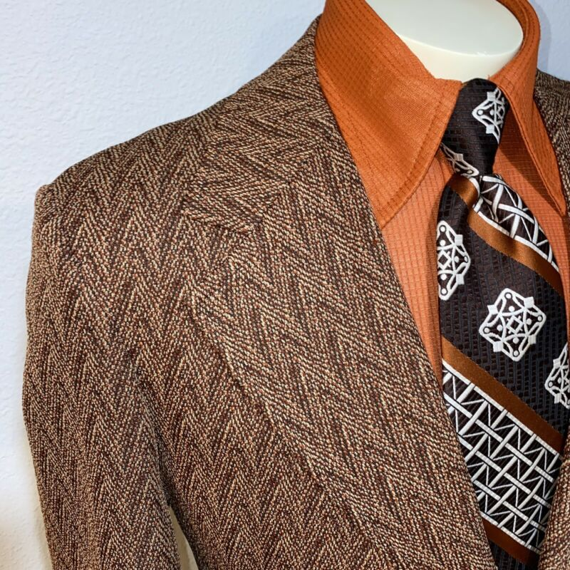 Vtg 60s 70s SHERWOOD Leisure Suit Jacket POLYESTER Blazer coat Disco MENS 46 R