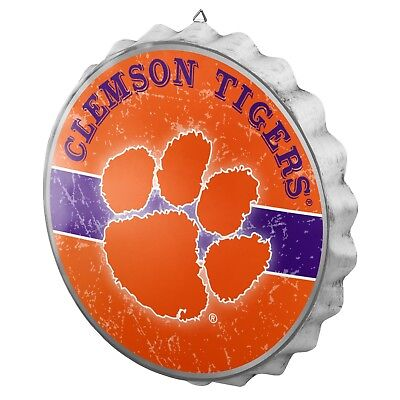 Tigers Sign - Clemson Tigers Bottle Cap Wall Sign - Distressed - Room Bar Decor Metal 13.5