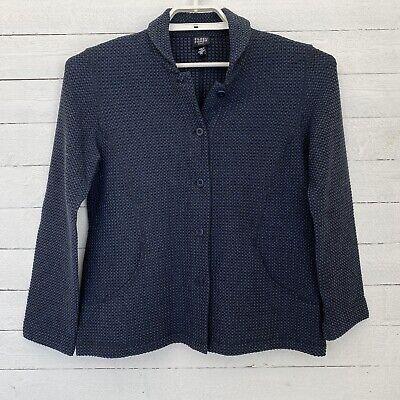 Eileen Fisher Womens Jacket Petite Medium L/S Blue Collared Button Up Blazer
