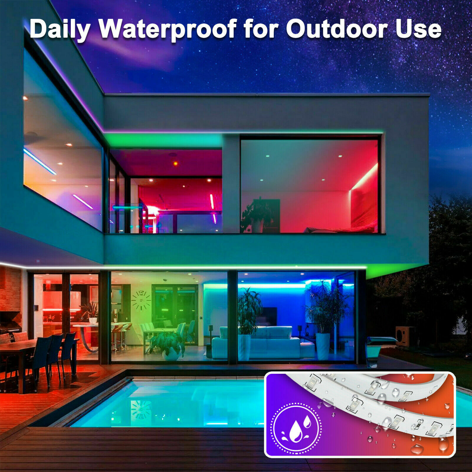Waterproof 5M 16.4ft 300 LED RGB 3528 SMD Strip Light Flexible 12V+Remote+Power Home & Garden