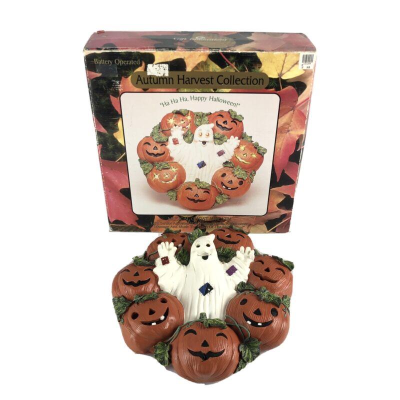 "Vintage 13"" Halloween Wreath Ghost Pumpkin Resin Wall Decor Musical Lights Music"