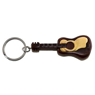 "Wood Intarsia Guitar Keychain Key Ring Handcrafted 3.25"" Long New!"