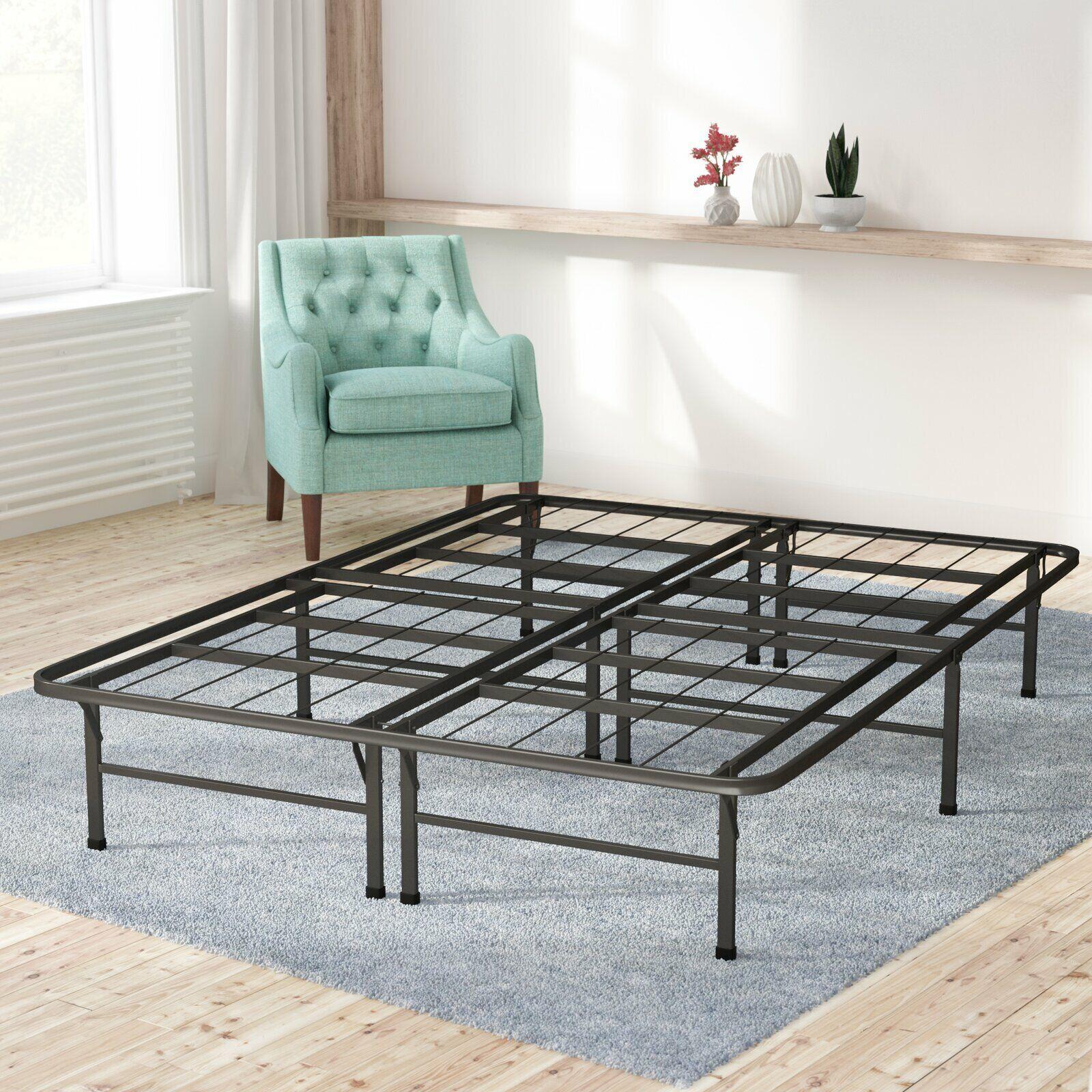 Full Easy Setup Bi-Fold Metal Bed Frame w Under bed Storage,