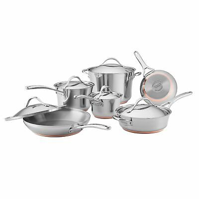 Anolon 11-Piece Nouvelle Copper Stainless Steel Cookware Set, Silver