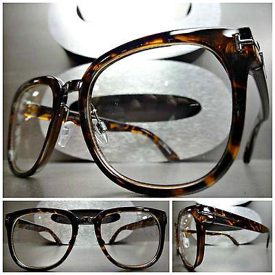 085eeb1b9c3 Men Women VINTAGE 50s RETRO Style Clear Lens EYE GLASSES Tortoise Fashion  Frame