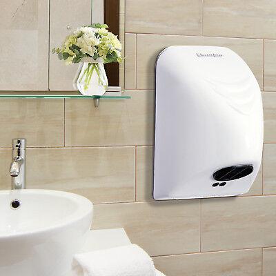 Elektrische Hand Trockner (kleankin Händetrockner Handtrockner Wandmontage Elektrisch 850W Toilette Weiß)
