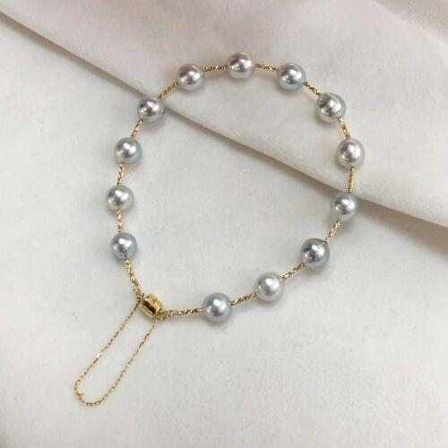 Luster 7-7.5mm Silver Akoya Pearl Bracelet &18k Gold Magnetic Clasp,Carved tubes