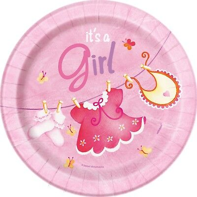 Pink Baby Shower Dessert Plates 8ct Clothesline Girl Baby Party - Baby Shower Plates