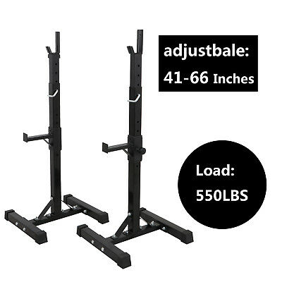 2 Barbell Rack Stand Squat Bench Press Home GYM Weight Liftting Fitness Exercise