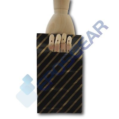 50 Extra Small Black and Gold Striped Gift Shop Boutique Plastic Carrier Bags