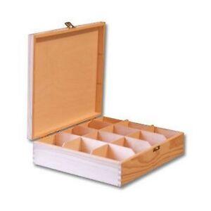 Plain Large Wooden Tea Box 12 Compartments Removable Dividers Tea Bag Chest