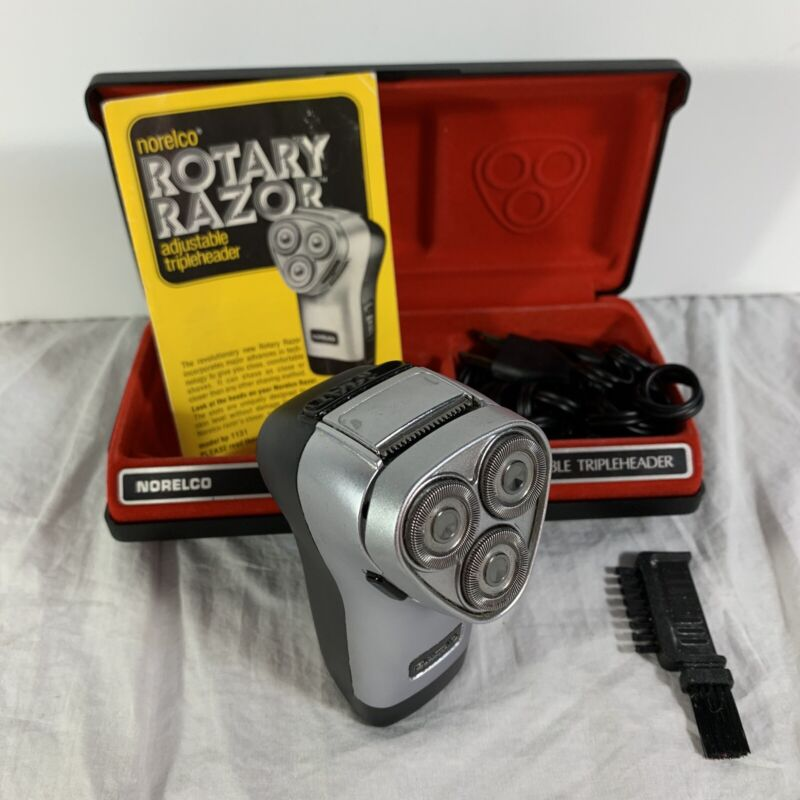 Vintage Norelco HP 1131 Rotary Razor Electric Shaver w/ Hard Case Brush Manual