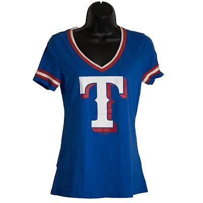 Womens 5th & Ocean Texas Rangers Blue Short Sleeve Shirt Top Size S Small