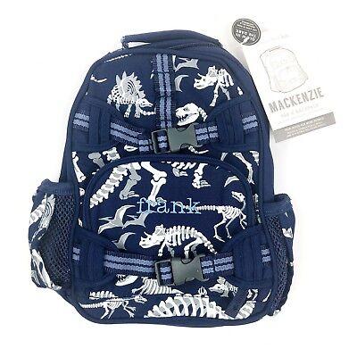 "Pottery Barn Kids Mackenzie Blue Dino Pre-K Backpack Personalized ""frank"" NWT!"