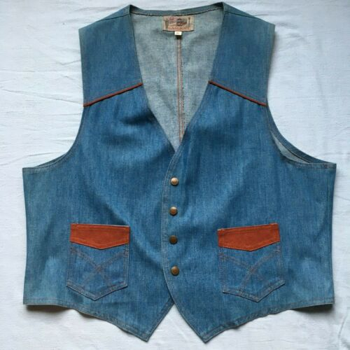 VTG Rare Gaslight Denim Vest Snap Closure Men