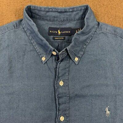 Mens Polo RALPH LAUREN Blue S/S Indigo Oxford Shirt XL