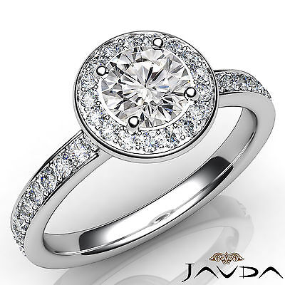 Cathedral Style Halo Pave Setting Round Diamond Engagement Ring GIA I VS2 1.16Ct