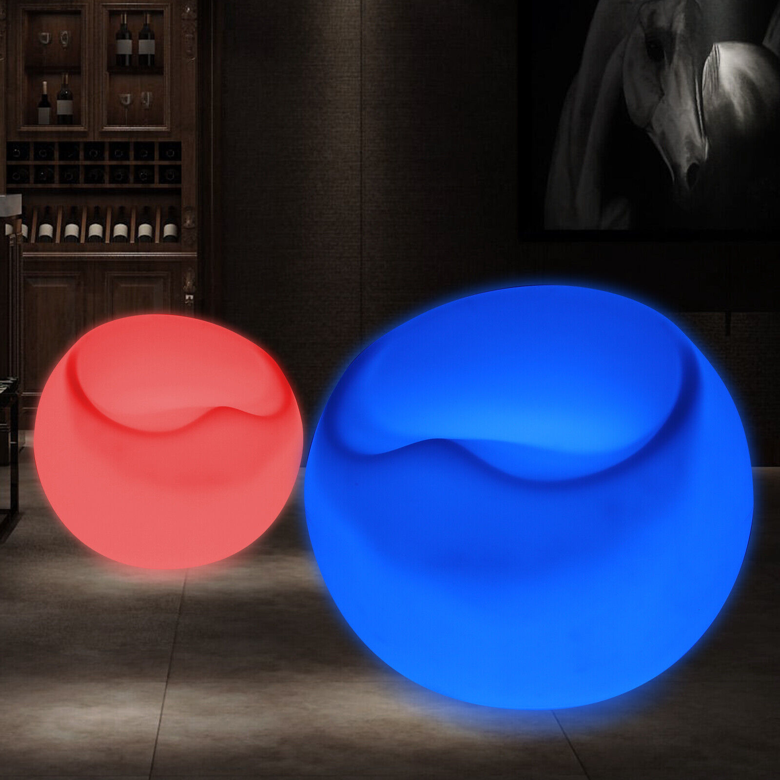 Changing LED Light Up Furniture Round Egg Shape Chair Pub Club Lounge Party Seat 2