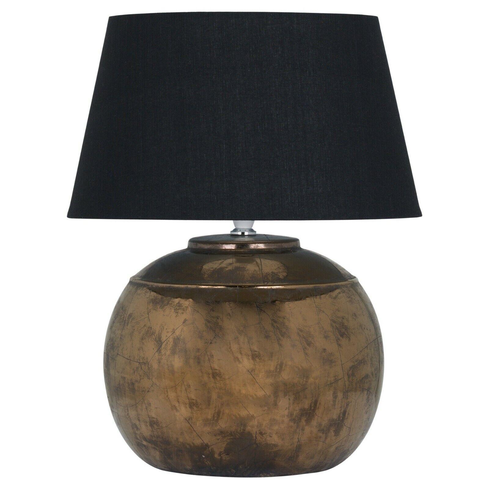 Distressed Round Bronze Copper Black Ceramic Table Desk Lamp 40cm (H19425)