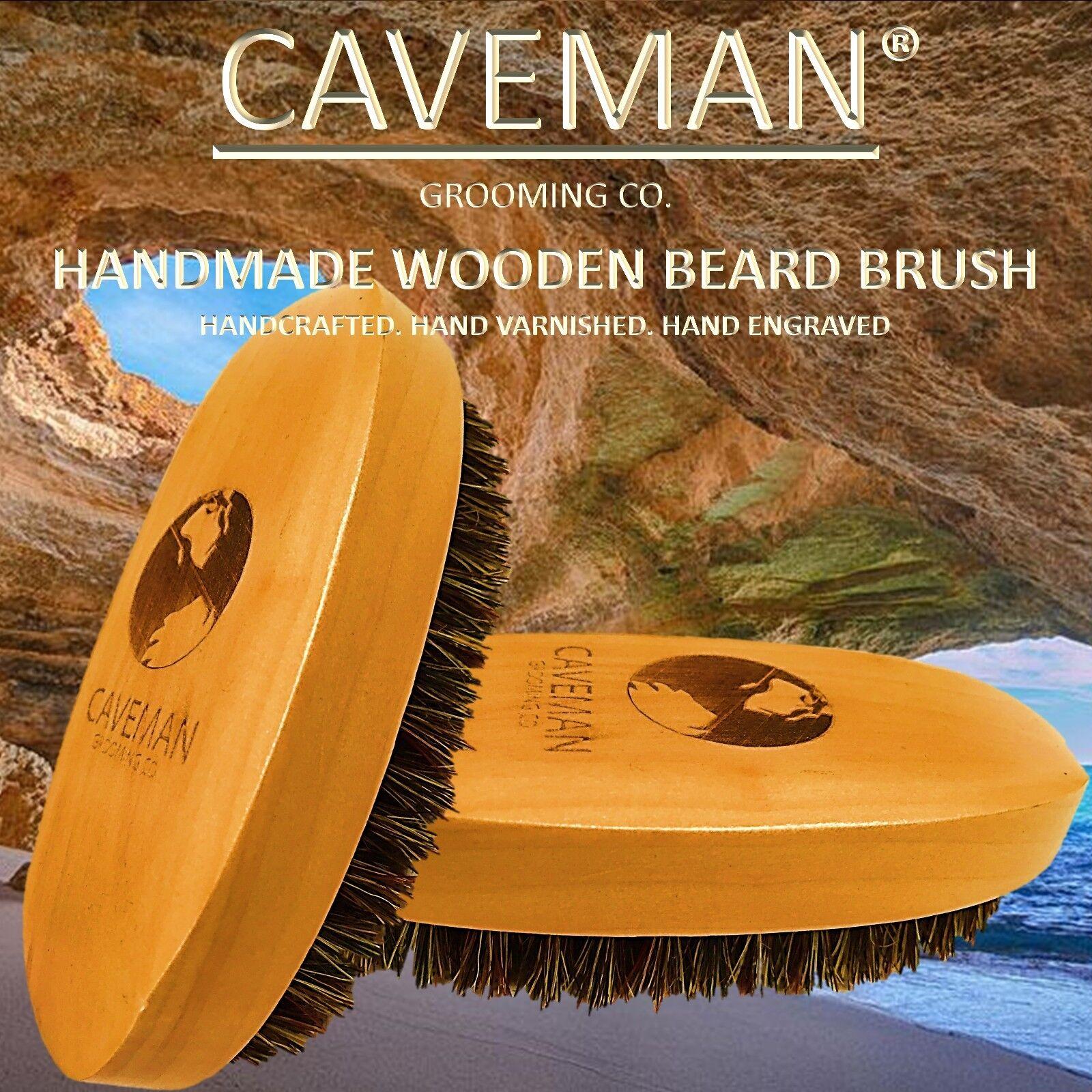 Handcrafted Beard & Hair Brush 100% Boar Bristles Beard by Caveman®  All Hair