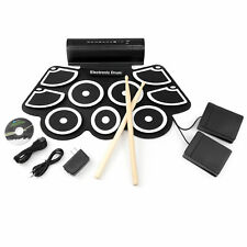 BCP Foldable Electronic Drum Set w/ USB MIDI, Drumsticks - Black