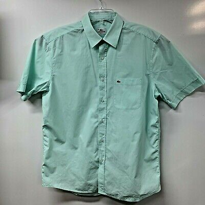 LACOSTE Mens size 42 Green Classic Fit dress /casual button Front Shirt (C50)