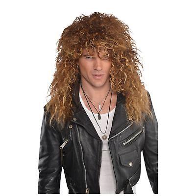 Glam Rock Costume Men (Glam Rock Punk Rocker Jon Bon Jovi Wig 80's 1980s Mens Fancy Dress)