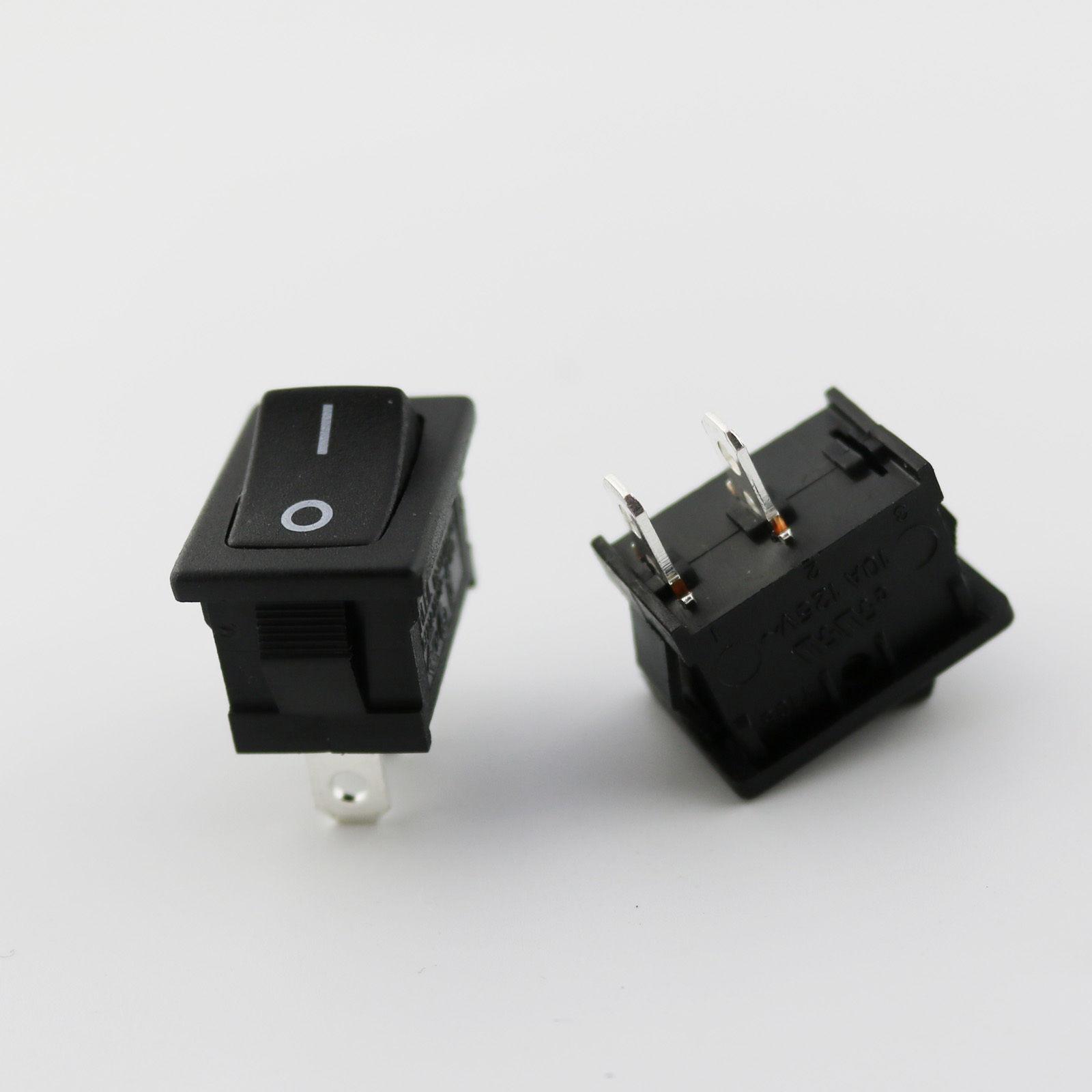 Black RLEIL Rocker Switch On/Off 2 Pin 2 Position DPST 10A/6A 125V ...