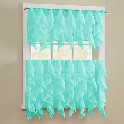 - Sheer Voile Vertical Ruffle Window Kitchen Curtain Tiers or Valance Sea