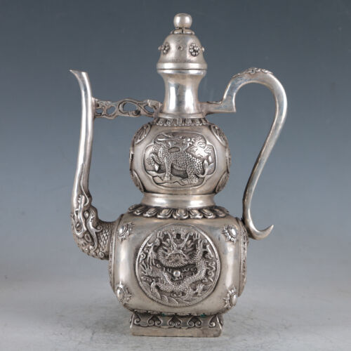 Chinese Silvering Copper Dragon Teapot Made During The Da Ming Xuande