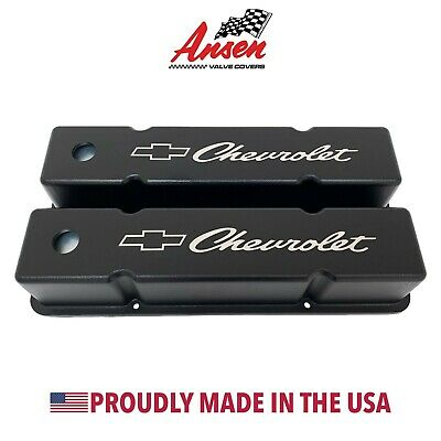 Small Block Chevy Valve Covers (Tall) w/ Chevrolet Bowtie Logo Black- Ansen USA