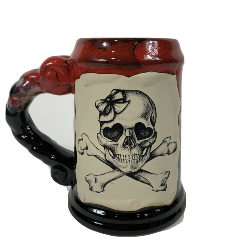 ALWAYS AZUL POTTERY Red Black Glaze Mug with Skull With Bow Villa Grove Colorado