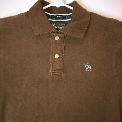 Abercrombie & Fitch Mens Large Brown Muscle Fit Polo Shirt Casual Collared Top L