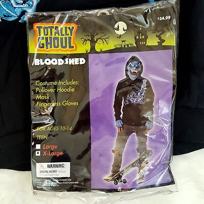 Totally Ghoul Youth Boys Size XL Skate Boarder Bloodshed Halloween Costume 10-14