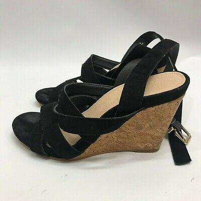 Anthropologie Pyramidis Black Strappy Wedge Sandals sz 38