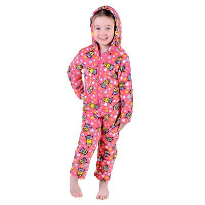 Despicable Me Minion All In One Pjyama PJs Nightwear Childrens Girls Pink Fleece