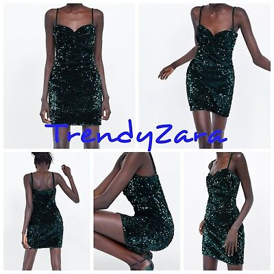9890836fb5 ZARA NEW AW18 TUBE GREEN DRESS WITH SEQUINS 2157 257 SIZE S VESTIDO  LENTEJUELAS