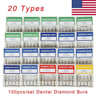 100pcs Dental Diamond Burs For High Speed Handpiece Medium Fg 1.6mm Sk-us
