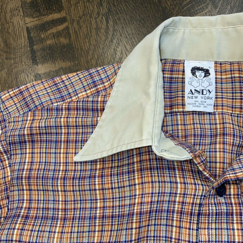 Vtg 60s 70s ANDY New York Plaid PolyCotton Button Up DISCO Shirt S/S Mens LARGE